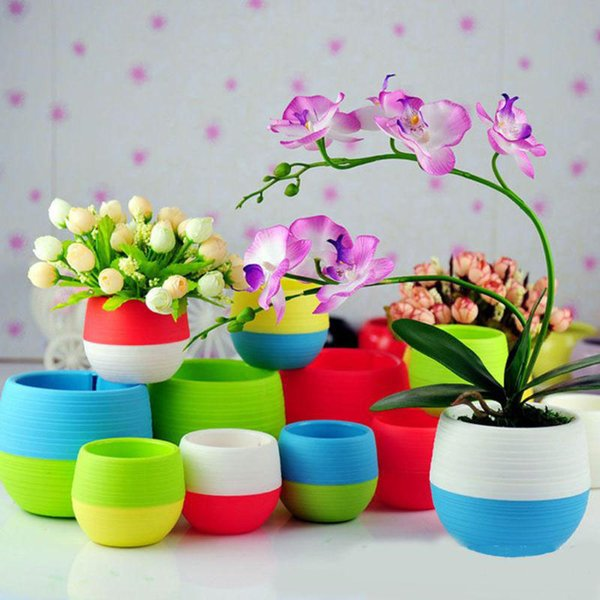 Hot Plastic Mini Plant Flower Pot Home Garden Office Decor Planters Easy To Carry Patio Lawn Garden Supplies 5 Color TY7-80
