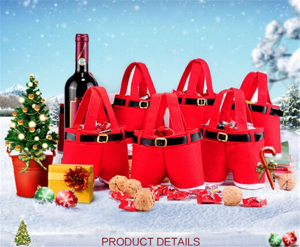 500pcs best price red bag Xmas Bag For Children Santa pants style Christmas Decoration Christmas Wedding Candy Bags christmas gift D395