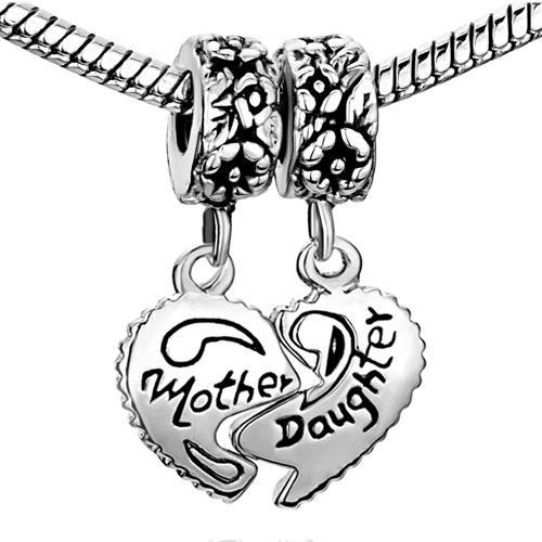 10pcs lot metal Mother Daughter European spacer beads Dangle Charms In Set Fit for Pandora Chamilia Biagi Bracelet
