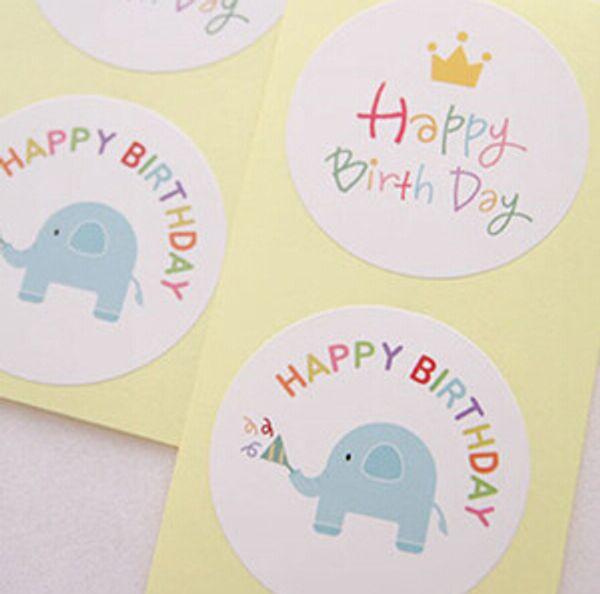 Free shipping cute carton happy birthday sticker handmade DIY decorative sealing paster gift wrap stickers favors
