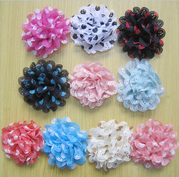 Free Shipping lace Wave point flower baby Kids DIY Chiffon Dot flowers flat back Hair accessory Head Flower corsage hat decoration HT2129