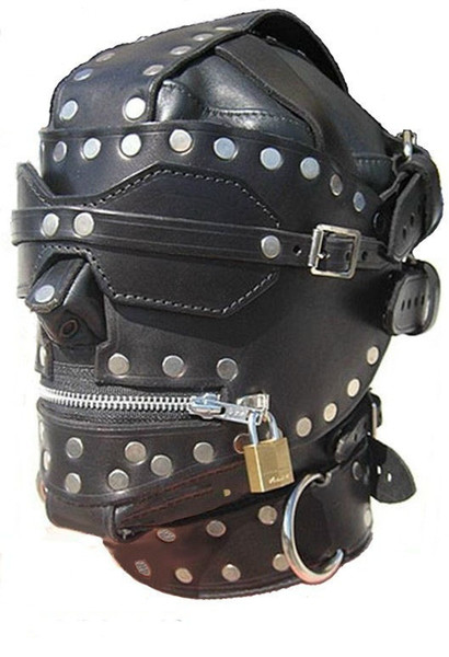 Leather Bondage Hood Open Mouth Sex Slave Mask BDSM Leather High End BDSM Sex Toys For Men and Women