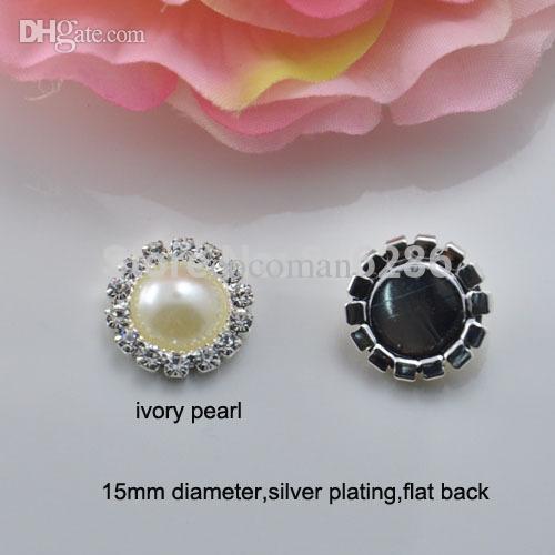 Wholesale- (J0006) 15mm di diametro con strass perla perla abbellimento, placcatura in argento, schienale piatto, perla d'avorio o pura perla bianca
