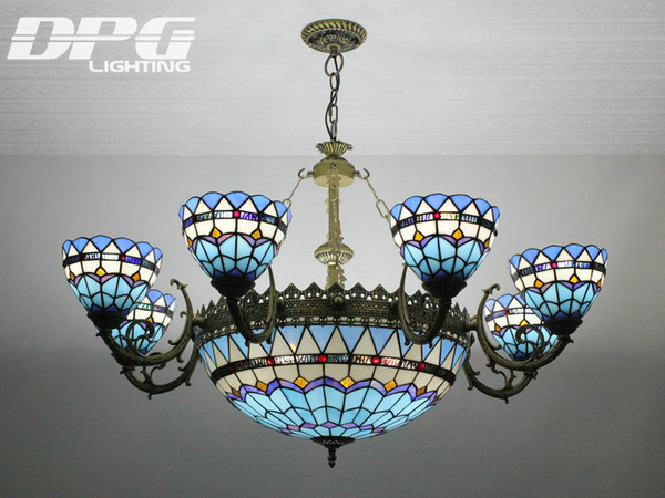 Stained Glass Pendant Lamps Tiffany Lights Art Dining Room Hand Made Chain Chandelier Living