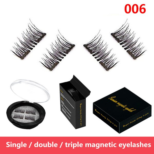 Single/Double Magnetic Eyelashes New Easy Wear Magnetic Eyelash False Eyelash Double Magnet Soft Hair Reusable Fake Magnetic Lashes 4 pcs