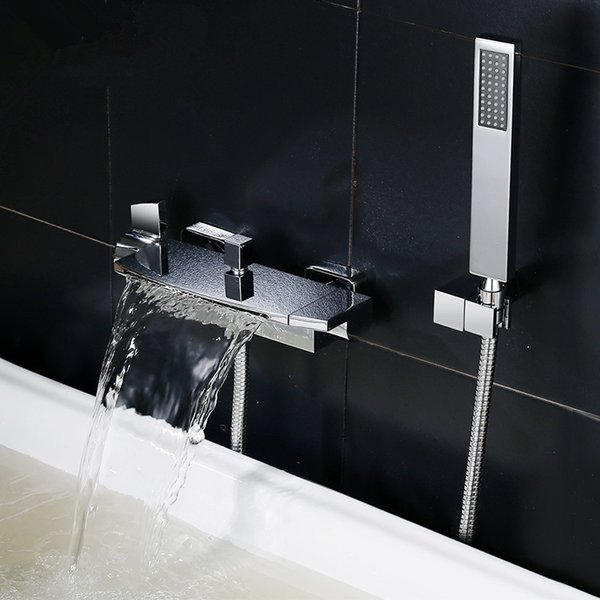 top popular ROLYA Premium Solid Brass Luxurious Black Chrome Wall Mounted Waterfall Bath Mixer Faucet Bathtub Taps with handshower 2021