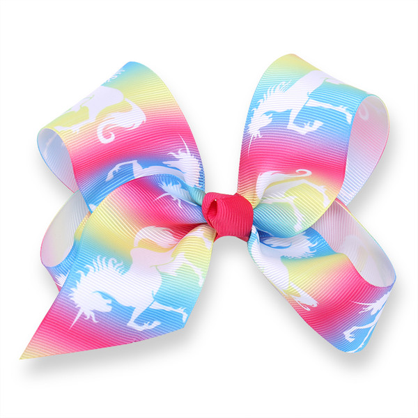 """50pcs girl Newest 5"""" Unicorn hair bows clips character striation ombre bowknot hairpins headwear Party hair bobbles Accessories HD3512"""