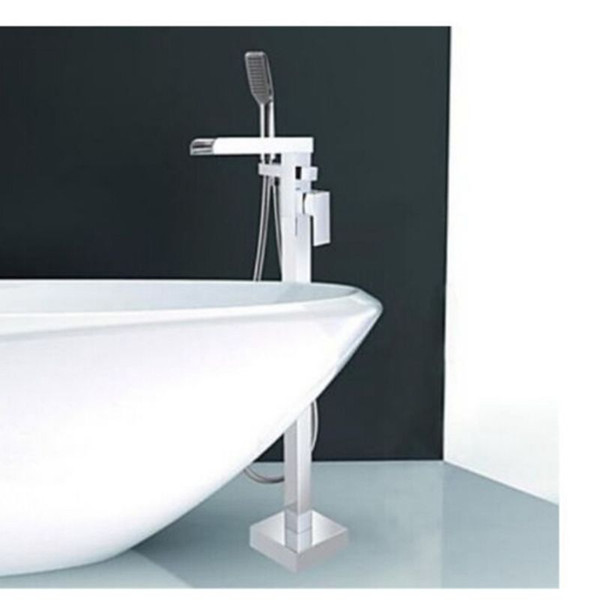 Wholesale And Retail Luxuty Waterfall Tub Faucet Floor Mounted Tub Filler W/ Hand Shower Chrome Brass