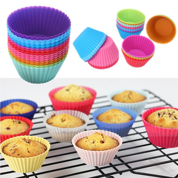 top popular Hot sale! Round shape Silicone Muffin Cupcake Mould Case Bakeware Maker Mold Tray Baking Cup Liner Baking Molds 2019