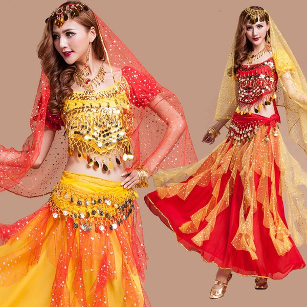 Hot New Egyptian Belly Dance Costume 4Pcs Top&Skirt&Waist Chain&Veil Bracelet Necklace Set Women'S Dance Clothing Bellydance Costume