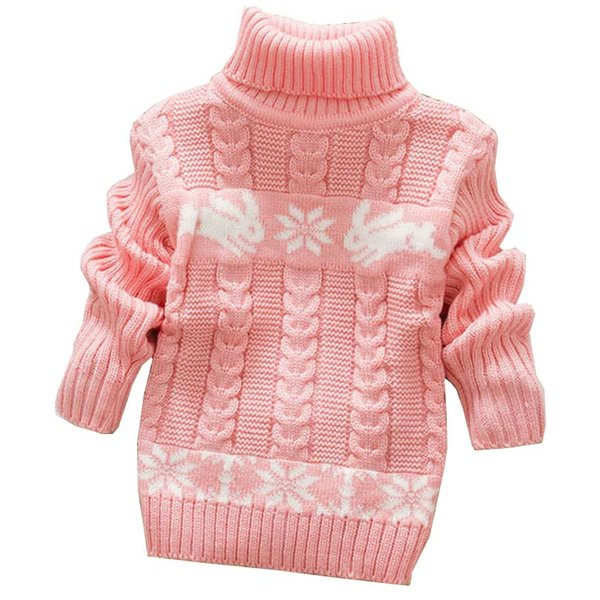 Autumn Winter Sueter Infantil for Girls Baby Sweater Coats with Cartoon Rabbit Print Cute Kids Sweaters New Soft Turtleneck Coat