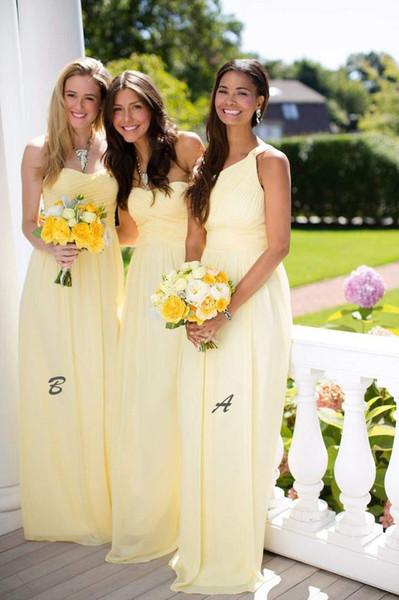 Mix And Match Giallo Bridesmaids Abiti formali Moda senza maniche A-Line Piega Abiti in chiffon Abiti Per le donne Spose Maids Abiti da sposa