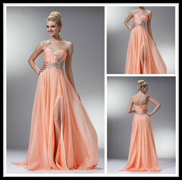 Chic Peach Long Prom Dresses Chiffon With Crystal One Shoulder ...