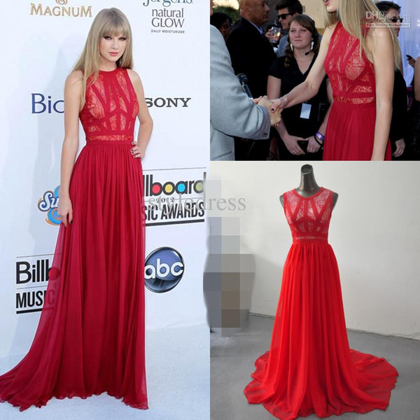 Taylor Swift Elie Saab abito da sera in chiffon di pizzo 2016 Trendy Sweep Train Jewel Neck Celebrity Gowns Red Carpet Dress 2015