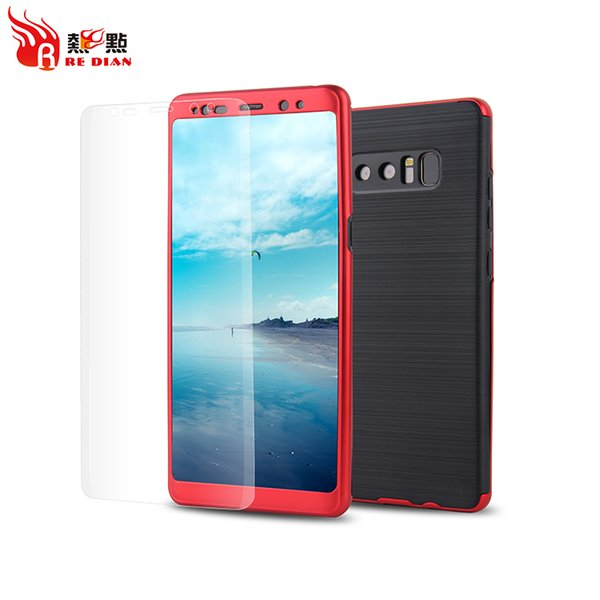 Promotional Factory Cheap Price 360 Degree Full Cover PC+TPU+Tempered Glas Import Material 3IN1 Cell Phone Case For Samsung Note8