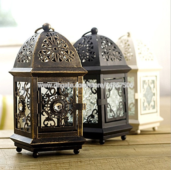 best selling Vintage Morrocan Iron Hanging Tealight Holder w Brushed Golden European Metal Glass Storm Latern Romantic Wedding Candle Holder