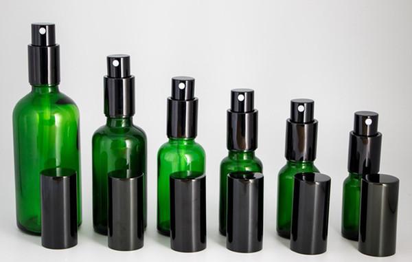 Commercio all'ingrosso 10ml-15ml-20ml-30ml-50ml-100ml bottiglie di vetro verde spray contenitori vuoti spruzzatore con pompa nera per la nebbia di olio di profumo DHL libero