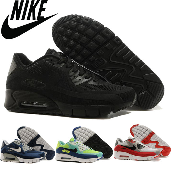 Nike Air Max 90 Br All Black Men Running Shoes Cheap Outdoor Athletic Shoes Breathable BlackBlueRed Airmax Tennis Sport Shoes New Arrival Best