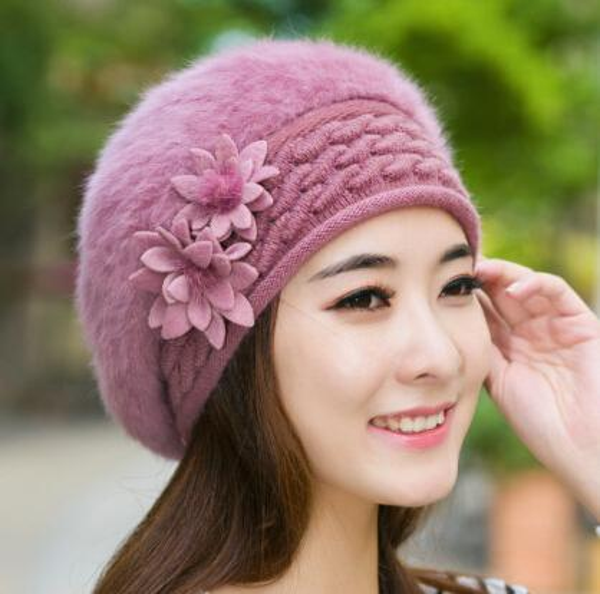 Flower Beret Womens Faux Fur Beanie Knitting Hat Crochet Winter Hat ... 795527cf2d6