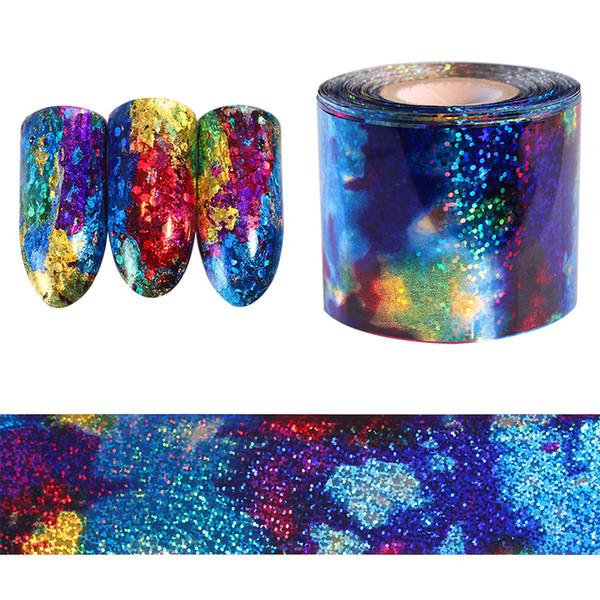 1 Mt Farbverlauf Sternenhimmel Nagel Folie Blau Holographische Papier Decals Decor Nail art Aufkleber Dekoration Zubehör