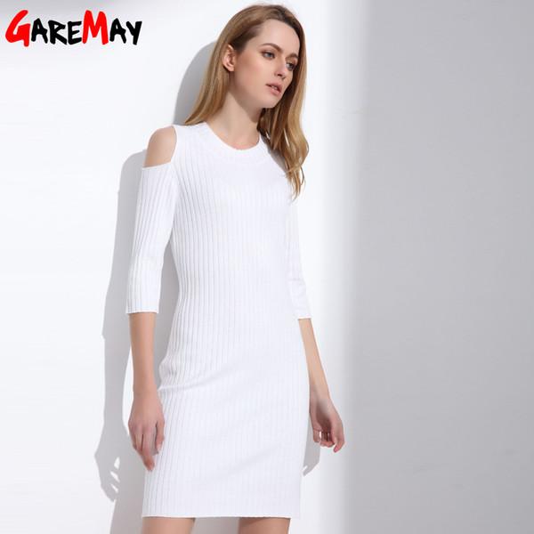 Großhandel Frauen Stricken Weißes Kleid Sexy Tunika Pullover Büro ...