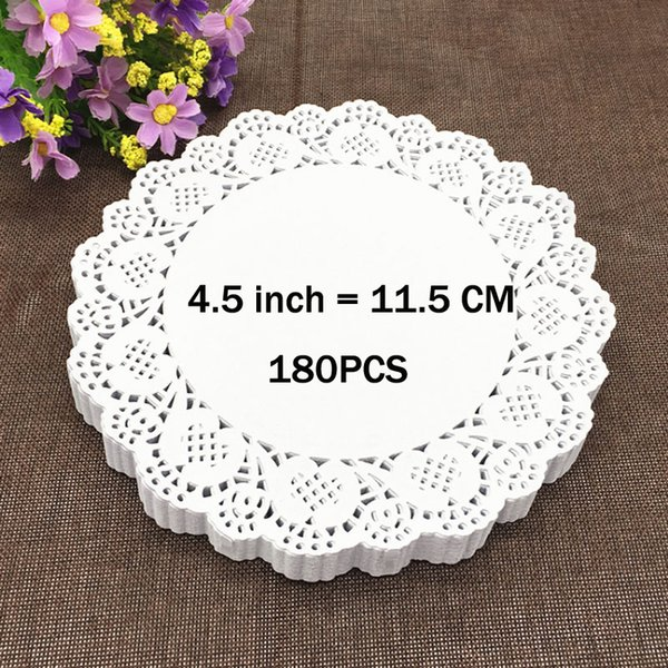 "Wholesale- 180PCS 4.5"" White Round Lace Paper Doilies / Doyleys,Vintage Coasters / Placemat Craft Wedding Christmas Table Decoration"