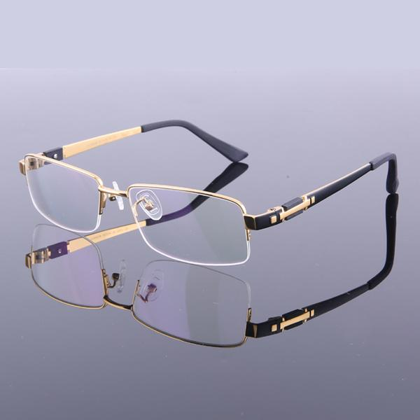 Nuevos hombres del estilo marcos titanios puros de las lentes marcos de espectáculo de la mitad del marco M8001 vidrios ópticos del marco de la alta calidad Eyewear