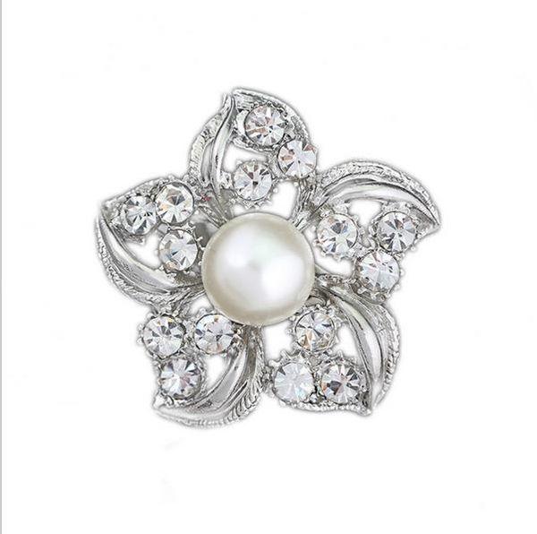 Fashion Accessories Graceful Flower Shape Rhinestone Brooch Dress Decoration Silver Collar Pin Gift Jewelry Brooch Hijab Pins