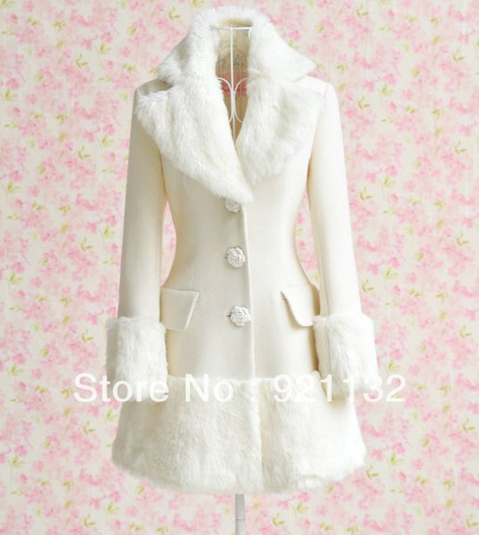 wholesale-10180 noble plus size white faux fur embellished collar and skirt lap flower buttons woolen winter warm coat