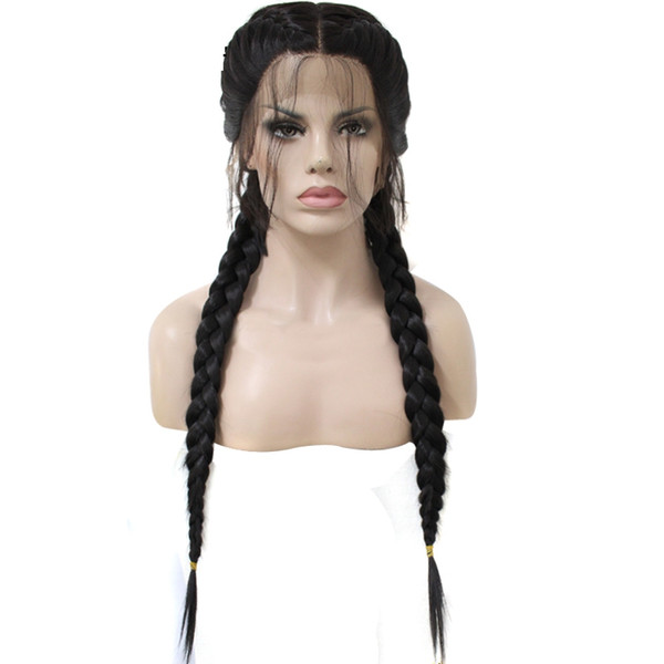 Brown Black Double Braids Long Straight High Temperature Fiber Braieded Two Tones Synthetic Front Lace Wig With Baby Hair