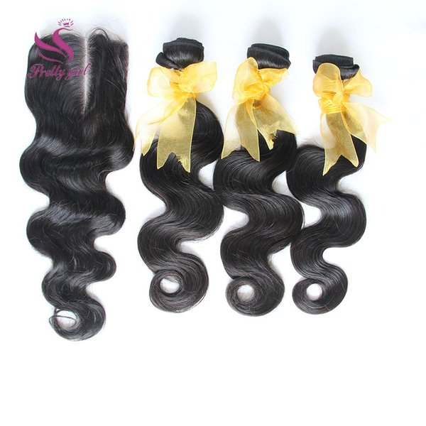 Free Top Lace Closure+3Pcs Unprocessed Brazilian Peruvian Indian Malaysian Cambodian Body Wave Virgin Human Hair Weave Bundles 8A Extensions