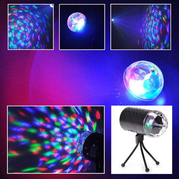 EU US 220V 110V 3W Full Color LED Crystal Voice-activated Rotating RGB Stage Light DJ KTV LED effects Disco Lamp Bulbs Auto Rotating
