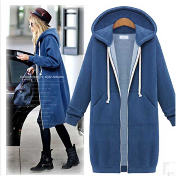 Winter Women Warm Zip Hooded Slim cardigan Plus thick velvet Outdoor Casual Sweater Hoodies Long Parka Women S-XL