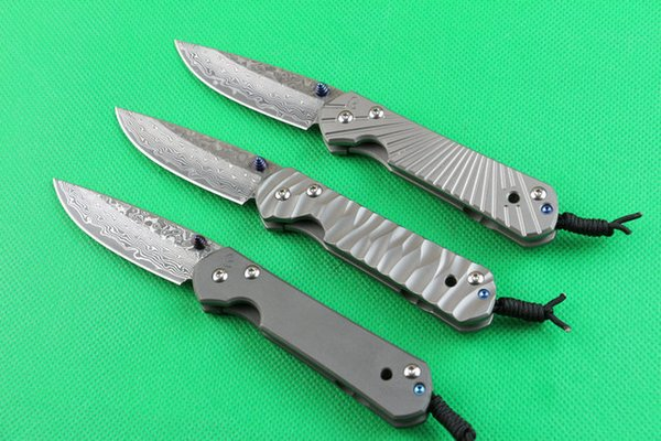 High-end Chris Reeve Sebenza 21 Coltello pieghevole piccolo acciaio di Damasco 58HRC Lama CNC in lega di titanio coltelli da taglio Utensili da taglio EDC