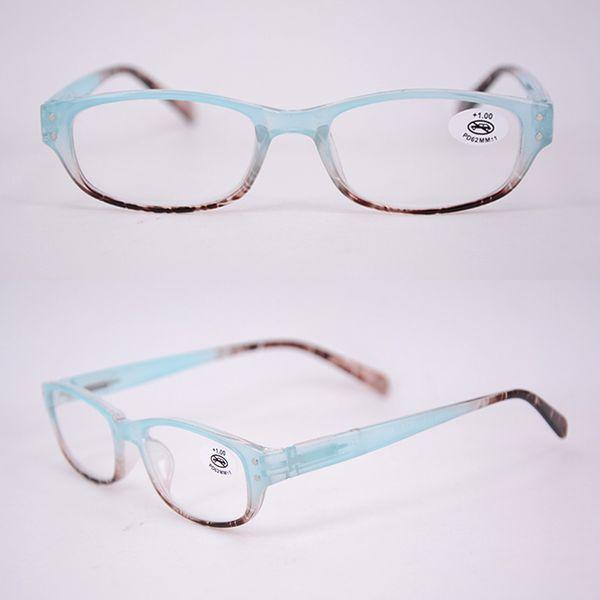 Lectores de plástico ovalados de las mujeres al por mayor de las mujeres al por mayor de la lectura gafas de color de rosa de la manera barata con los remaches fuerza de la ampliación azul
