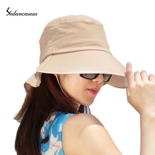 wholesale-summer women big brim cloth hat foldable anti-uv sun hat big bow solid casual hat wg140982