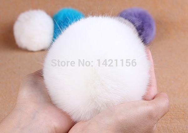 Wholesale-2 adet Beyaz Faux kürk pompoms D10 knited için kap / iphone / kasketleri şapkalar / anahtar / çanta DIY yapay kürk pom poms ücretsiz kargo