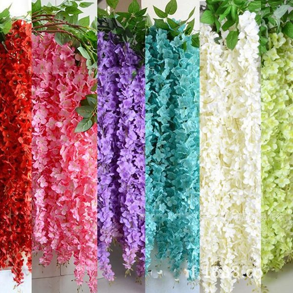 1.6 Meter Long White Elegant Artificial Silk Flower Wisteria Vine Rattan For Wedding Centerpieces Decorations Bouquet Garland Home Ornament