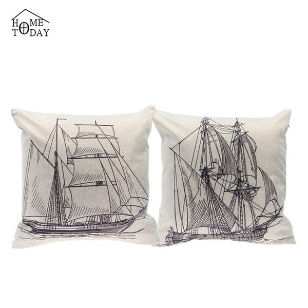 5 Pcs/lot Sailing Print Single Pillowcases 45cm*45cm Decorative Pillow Case Eco-Friendly Home Hotel Pillow Cover Free Shipping