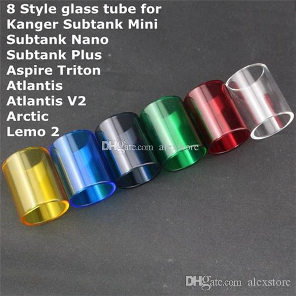 Pyrex Glass Tube Replacement Replacable Changeable Caps for Kanger Subtank Mini Nano Plus Aspire Triton Atlantis V2.0 Arctic Triton Lemo 2