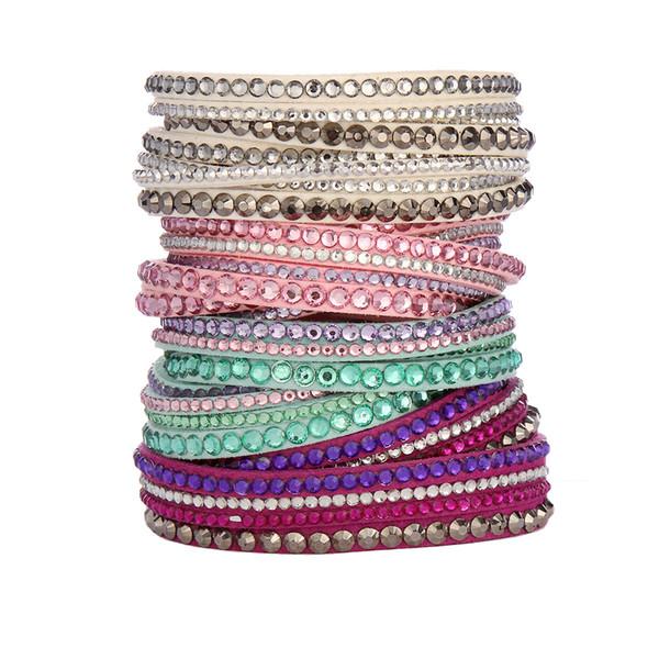 mujeres / niñas de múltiples capas Wrap Pulseras Slake Deluxe Pulseras De Cuero Con Cristales Pareja Joyas Pulseras Del Encanto 50pcs
