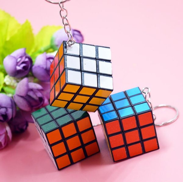 Hot Sale Fashion Cool Mini Toy Key Ring Magic Cube Game Puzzle Key Chain Carrying 3cm Free Shipping