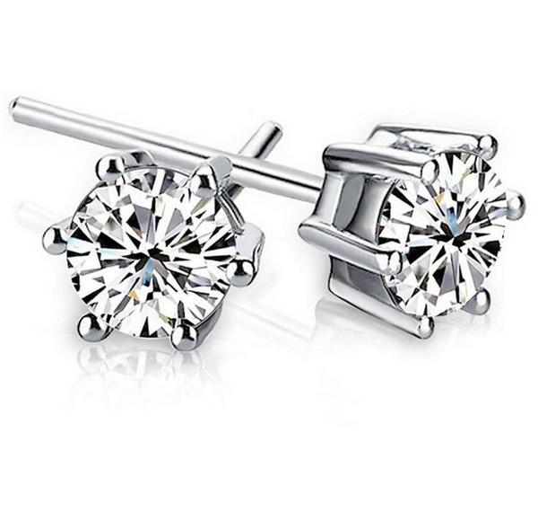 Noble 925 Sterling silver Shining Diamond Crown Stud earrings Fashionable Sweden Jewelry beautiful wedding / engagement gift free shipping