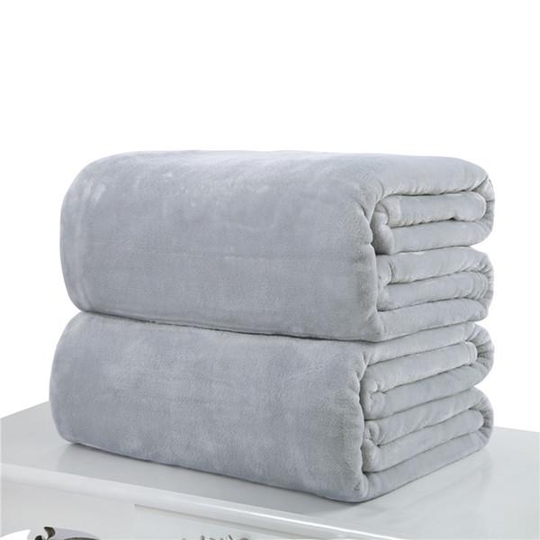 Wholesale- 10 Solid Flannel Blanket Sofa/bedding Throws Soft Plaids Polyester Spring/Autumn Warm Flat Sheet 70*100cm&100*150cm&150*200cm