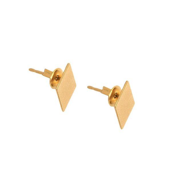 30Pair- S034 Gold Silver Diamonds Stud Earring Simple Rhombus Stud Earring Cute Poker Square Earrings Tiny Geometric Playing Card Earrings