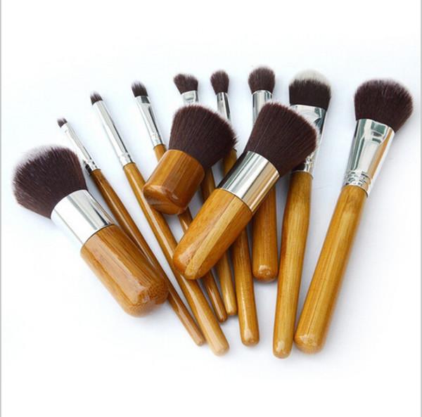 Profe ional bru h 11pc lot bamboo handle makeup bru he 11pc make up bru h et co metic bru h kit tool dhl good quality