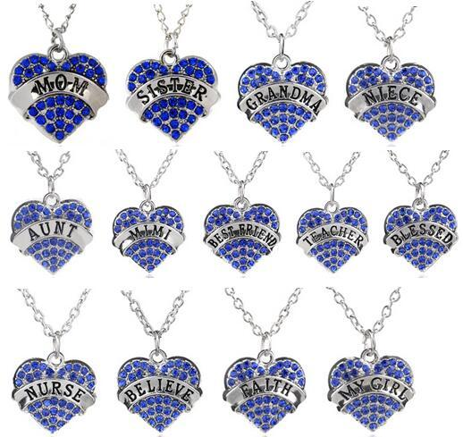 5PCS/lot Blue Rhinestones Heart Pendant Necklace With Blessed Aunt Nurse MY Girl Mom Best Friend Etc. Words Letters Fit For Family Gift