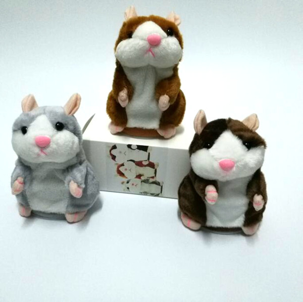 top popular Russian Talking Hamster Plush Toy Cute Speak Sound Record Hamster Pet Talking Record Mouse Plush Kids Toy 15cm with Retail Box DHT48 2021