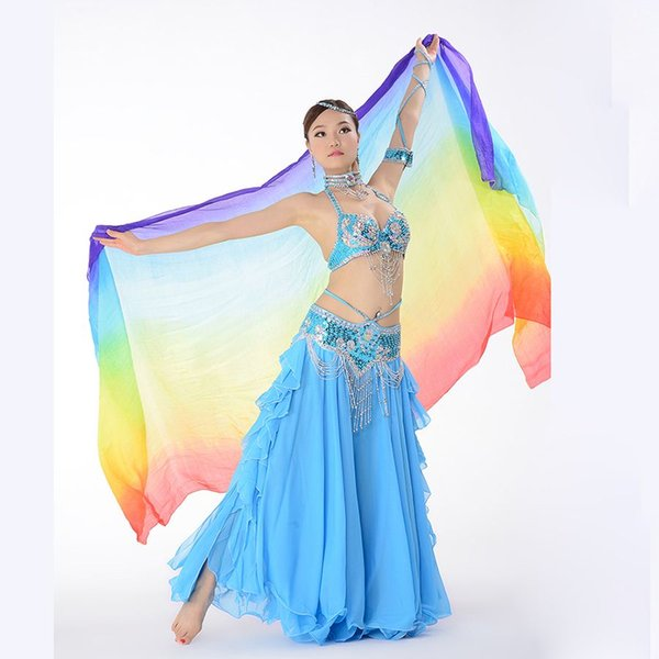 top popular NEW Arrival Deluxe Sari Dancing Girls Rainbow Silk Veil W94.5'' x H43.5'' Belly Dance Stage Performing Scarf Shawl 2019