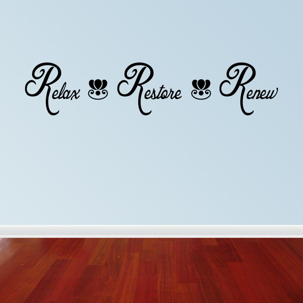 Relax Restore Renew Spa Bathroom Vinyl Wall Quote Decal Stickers Lettering Washroom Decor